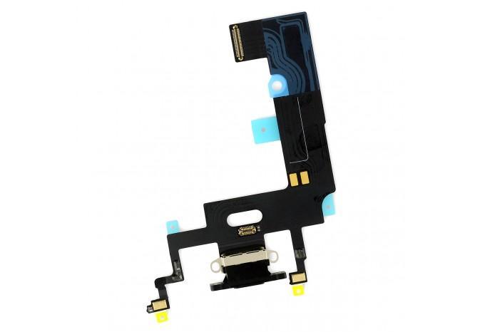 Нижний шлейф Dock коннектор для iPhone XR черный