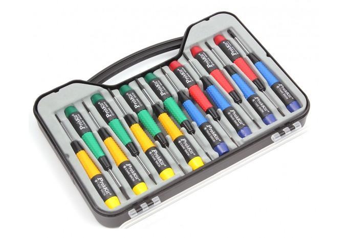 Комплект отверток для ремонта сотовых телефонов и ноутбуков Proskit 15 шт. в чемодане, SW-0118