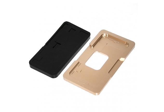 Металлическая форма для наклейки стекла на дисплей iPhone X/XS с плотной резиновой подложкой для пресса