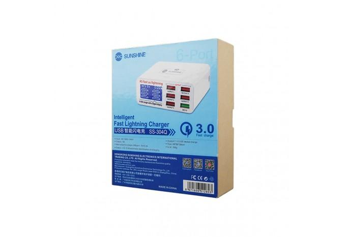 Зарядная станция с измерением напряжения и тока 6 USB Sunshine SS-304Q