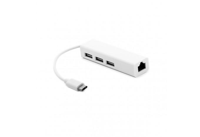Адаптер USB-C Type-C Ethernet c 3 портами USB 3.0 для MacBook 12'', Retina 2015 - 2018